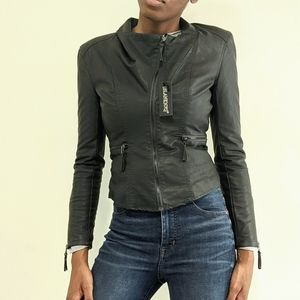 BLANKNYC Faux Leather Fitted Moto Jacket Charcoal